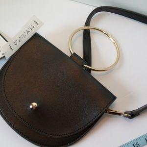 melie Bianco purse black vegan leather gold trim